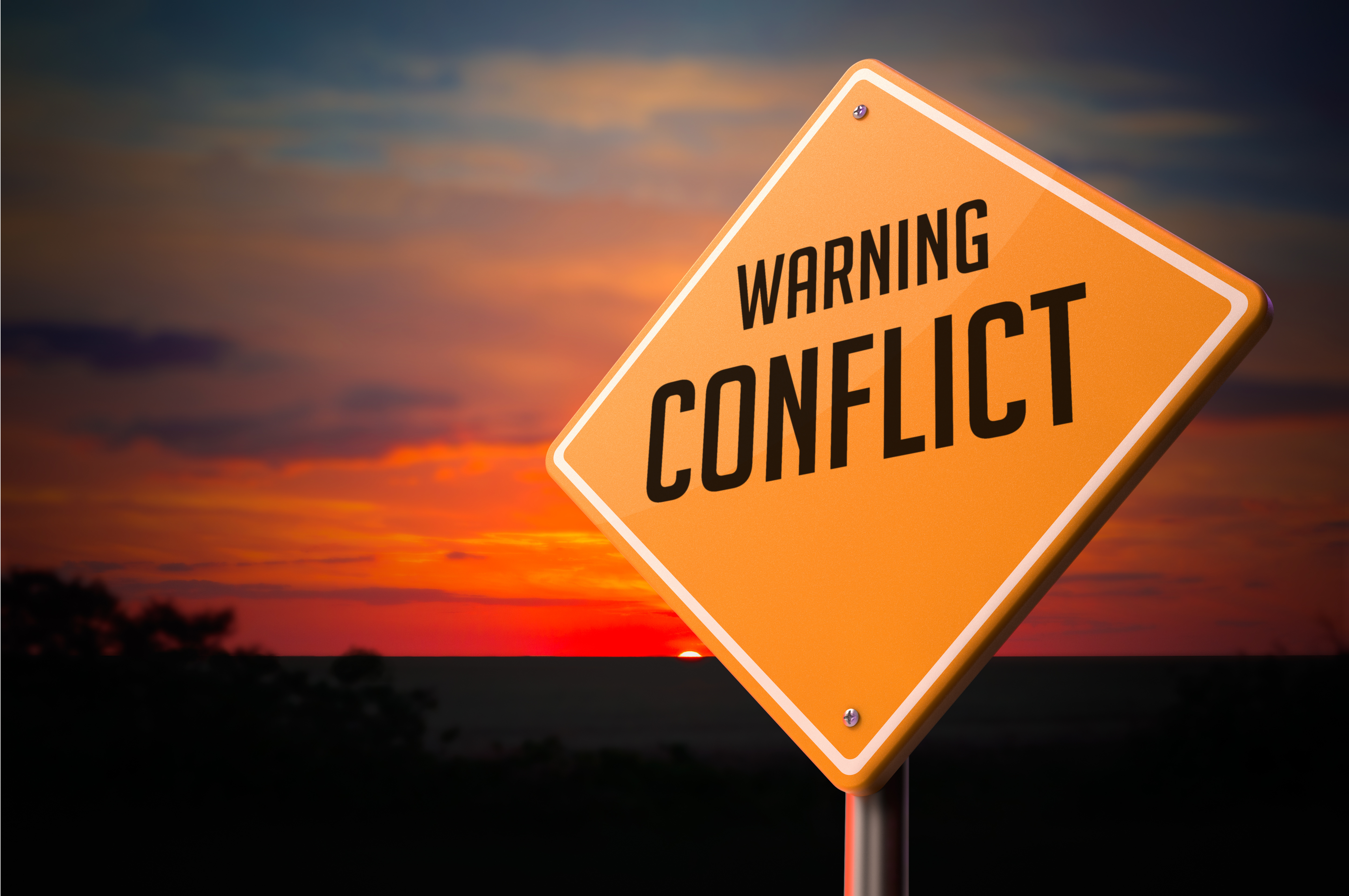 Conflict on Warning Road Sign