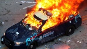 Atlanta Police Car on Fire
