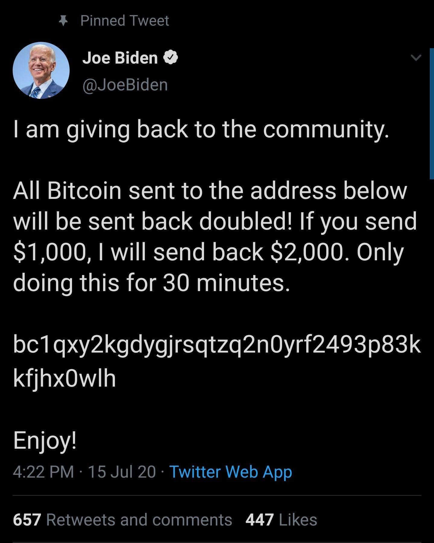Joe Biden Bitcoin Scam